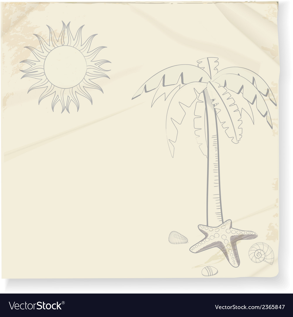 Tropical palm tree and sun sketch vector | Price: 1 Credit (USD $1)