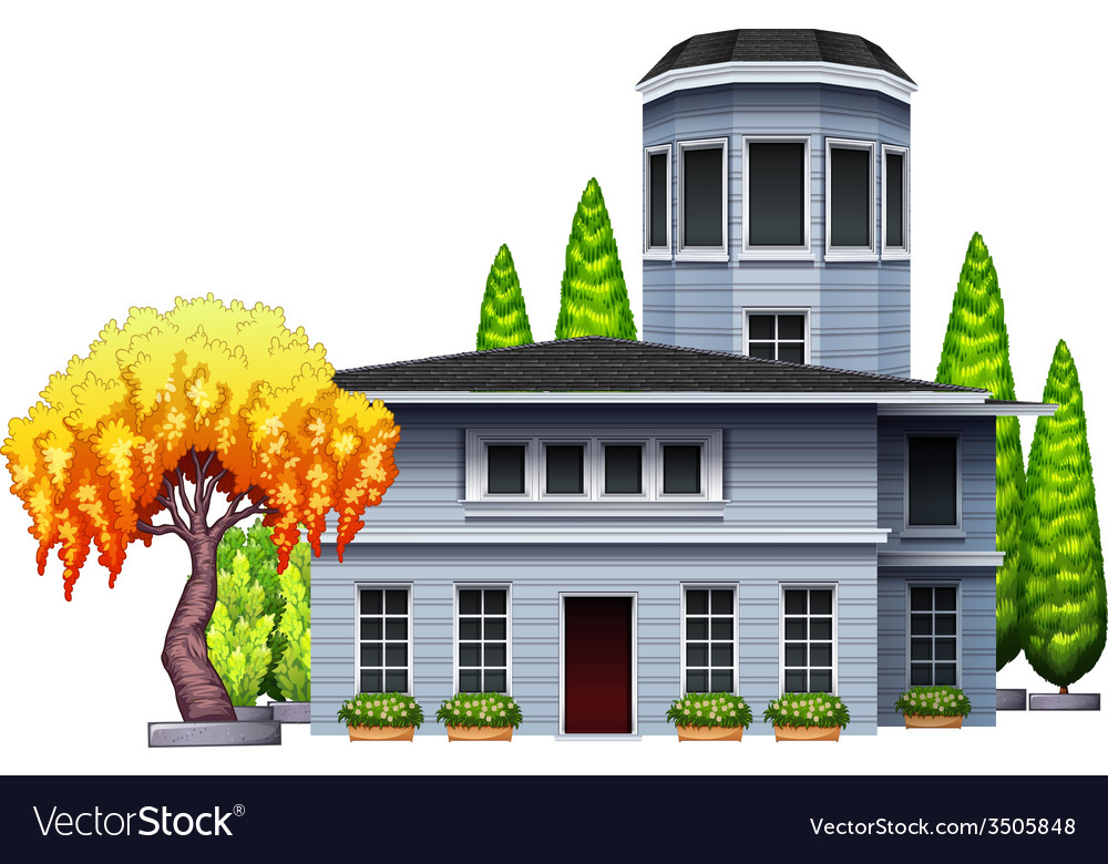A building surrounded with plants vector | Price: 1 Credit (USD $1)