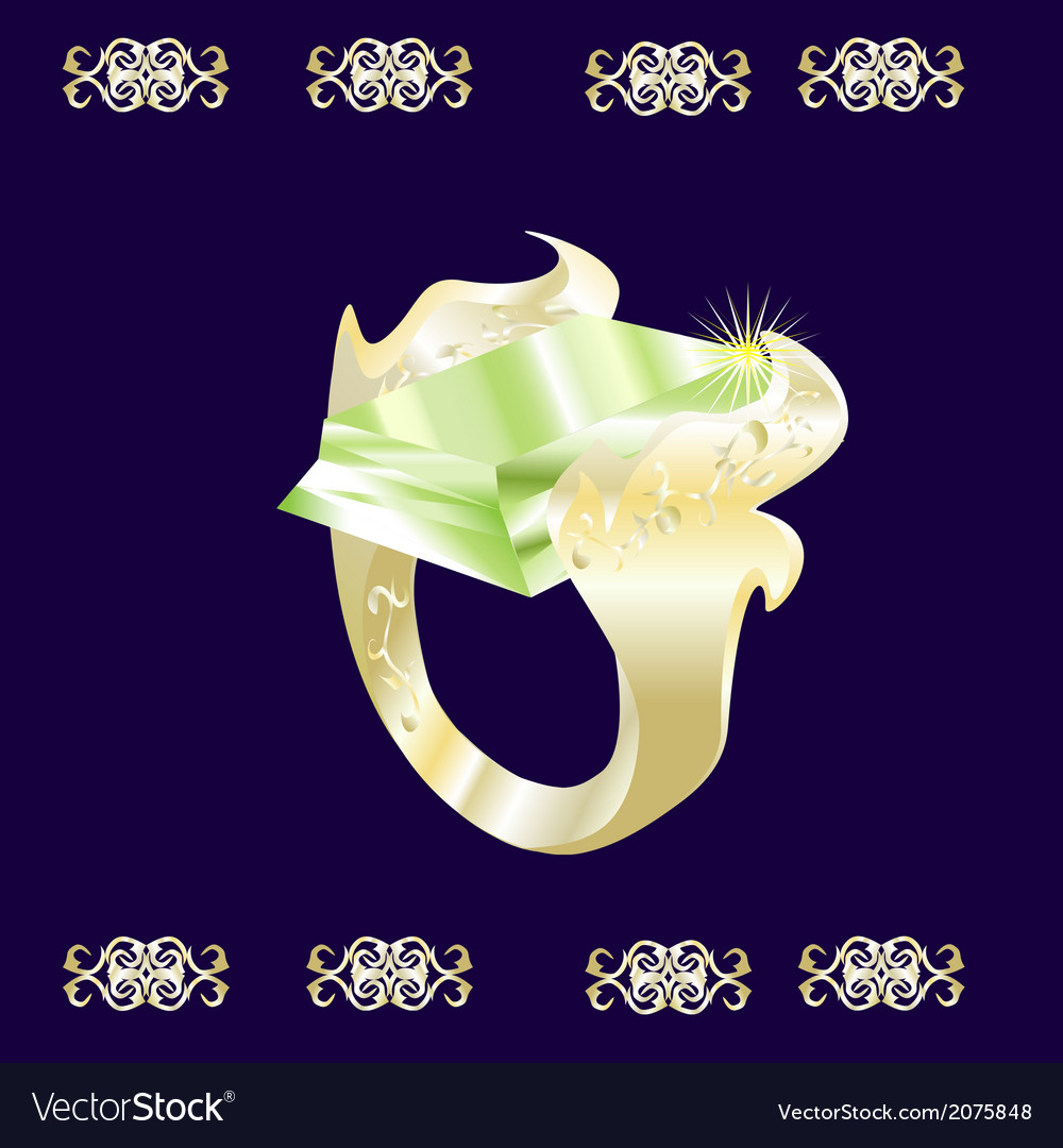 A gold ring with a green stone vector | Price: 1 Credit (USD $1)