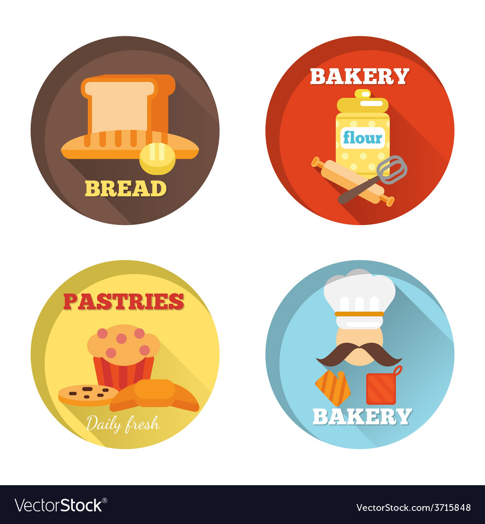 Bakery decorative icons vector | Price: 1 Credit (USD $1)