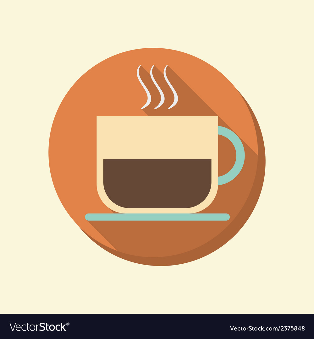 Flat circle web icon cup of hot drink vector | Price: 1 Credit (USD $1)