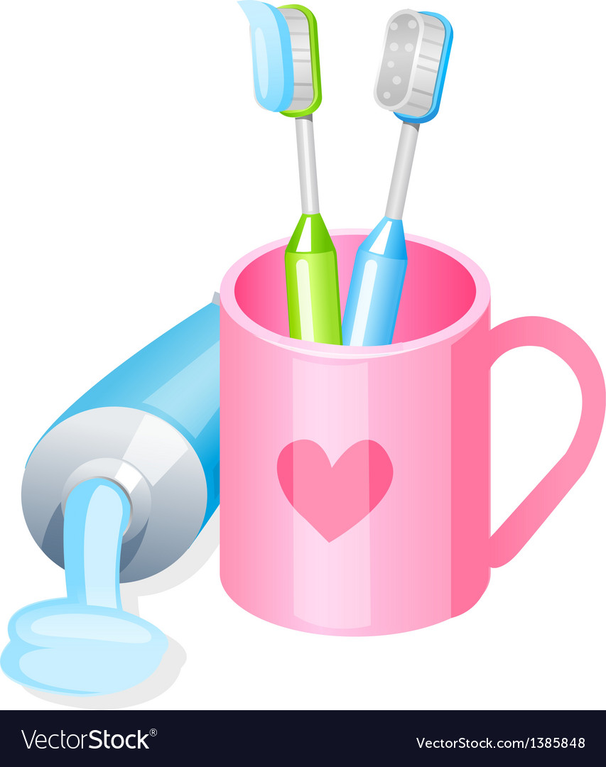 Icon toothpaste and toothbrush vector | Price: 1 Credit (USD $1)