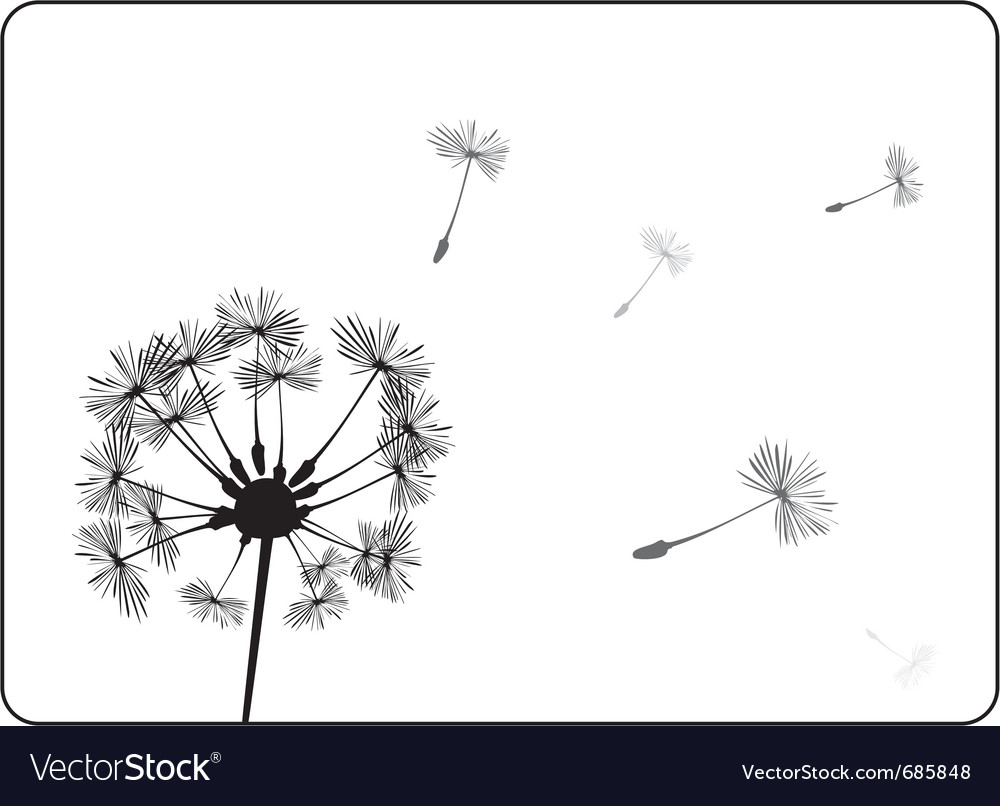 Retro dandelion silhouette vector | Price: 1 Credit (USD $1)