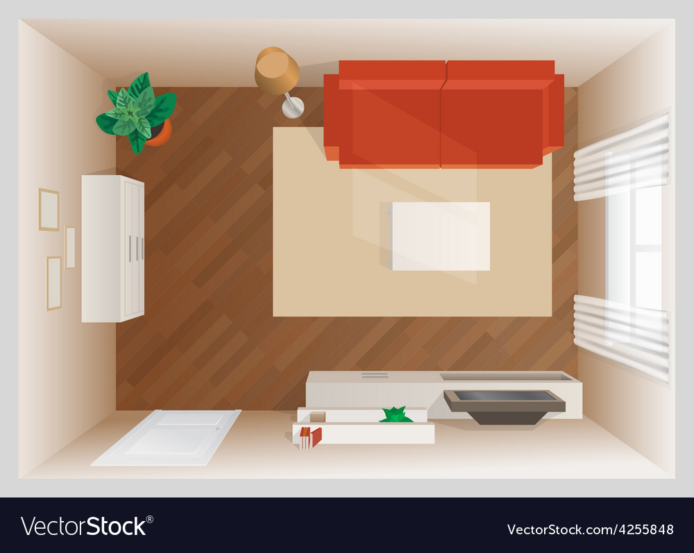 Room with furniture top view vector | Price: 1 Credit (USD $1)