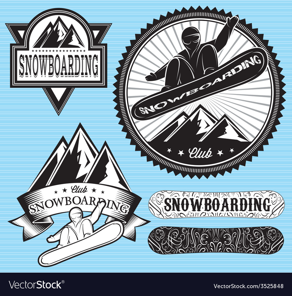Set of templates for extreme snowboarding vector | Price: 1 Credit (USD $1)