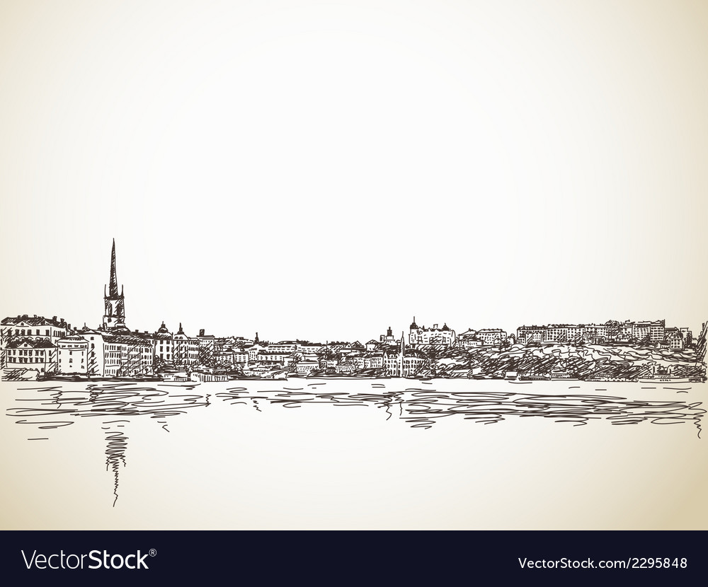 Skyline sketch of stockholm vector | Price: 1 Credit (USD $1)