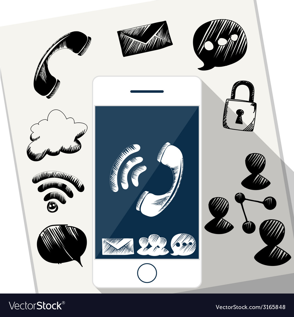 Smart phone mobile with doodle sketch vector | Price: 1 Credit (USD $1)