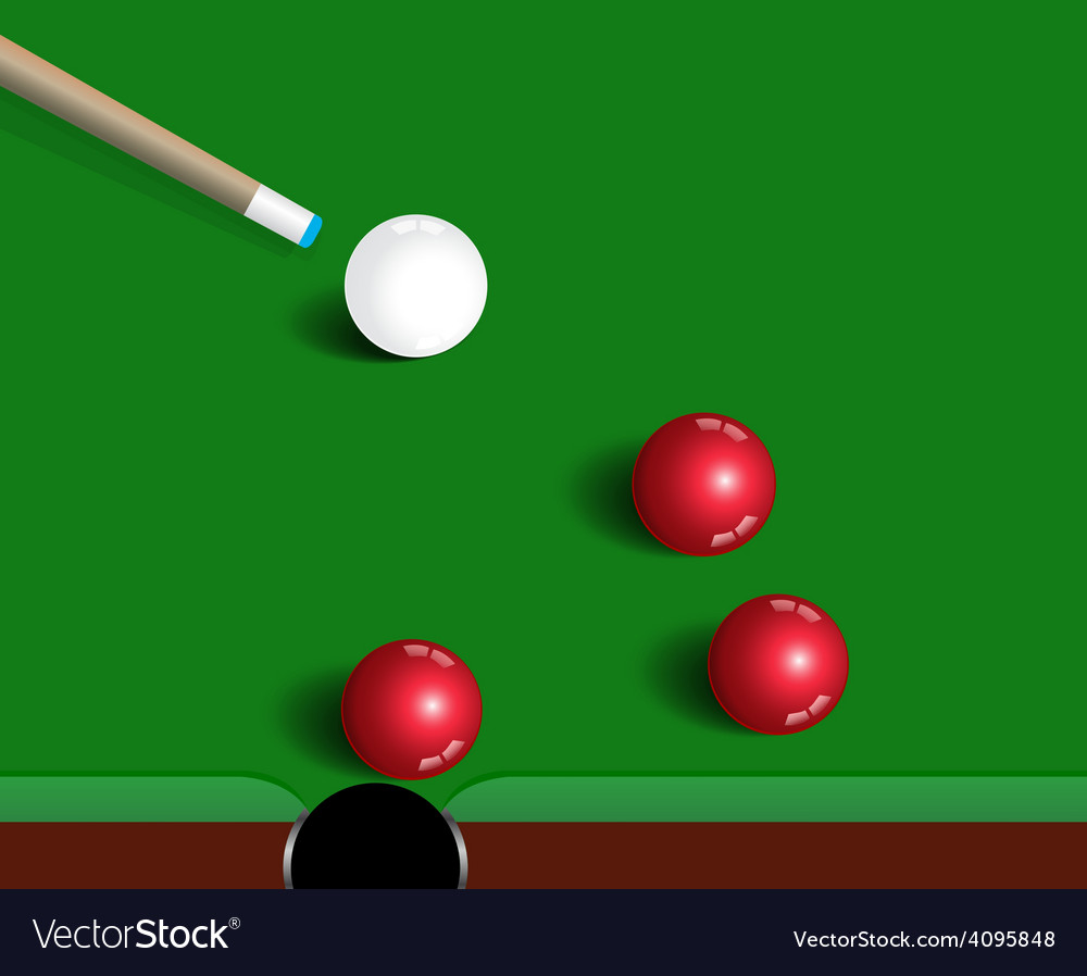 Snooker balls on green snooker table sport game vector | Price: 1 Credit (USD $1)