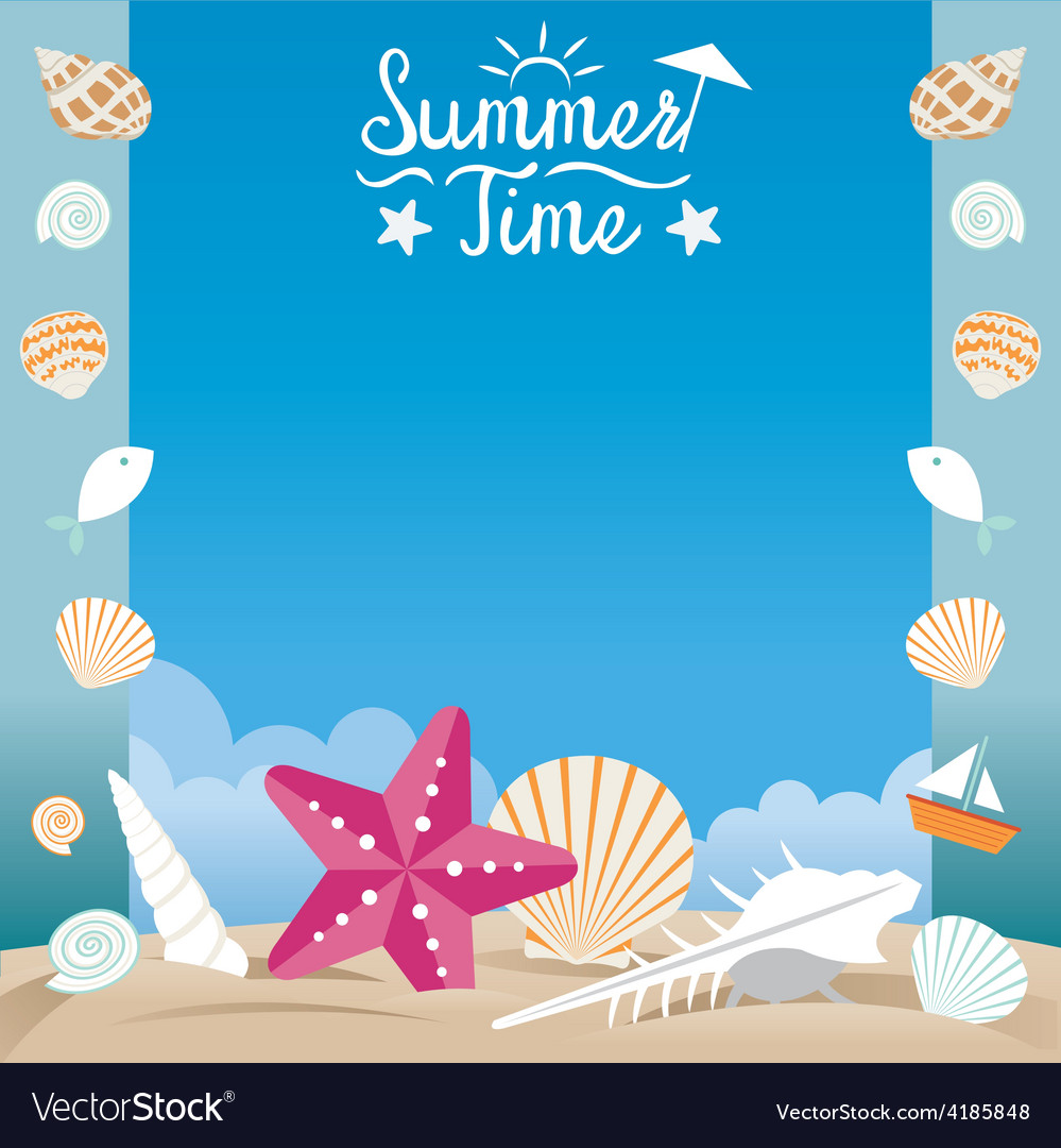Summer beach with sea shell and starfish frame vector | Price: 3 Credit (USD $3)