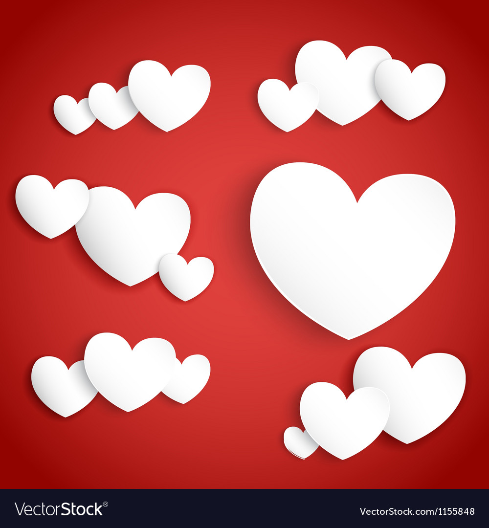 White paper hearts on red background vector | Price: 1 Credit (USD $1)