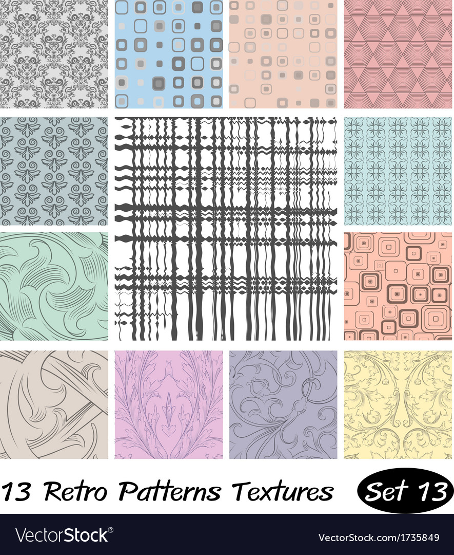 13 retro patterns textures set 13 vector | Price: 1 Credit (USD $1)