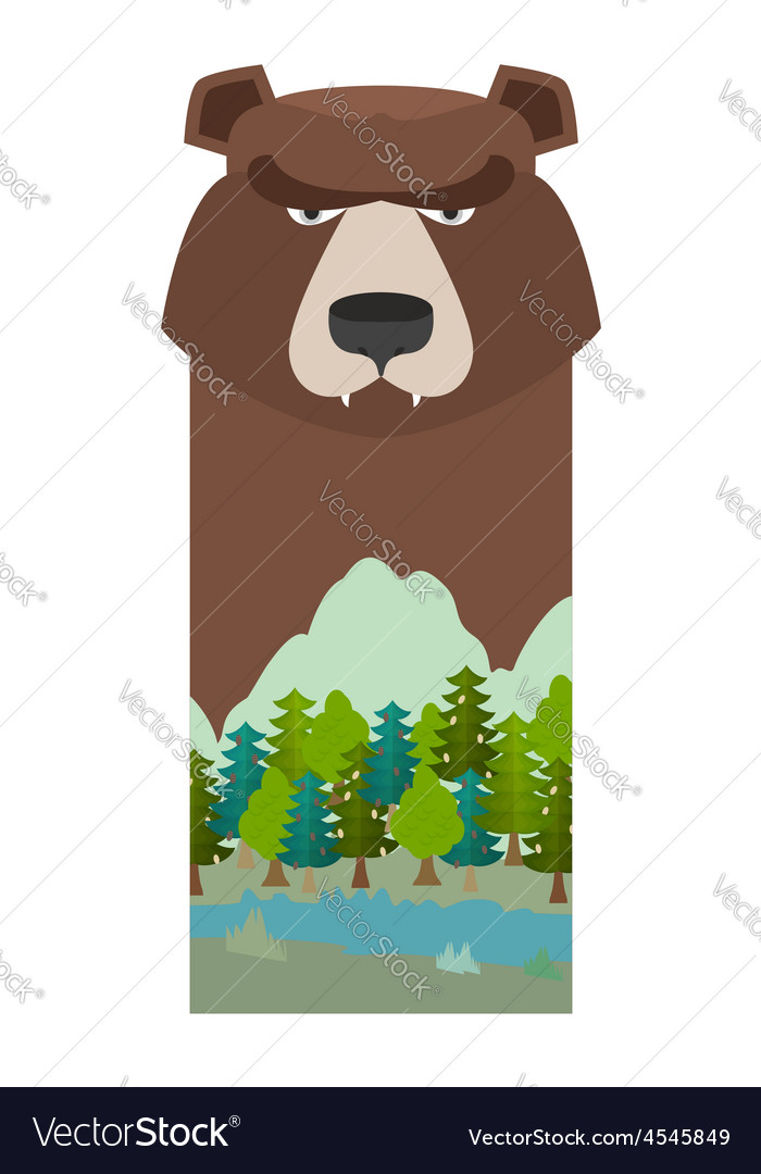 Bear head grizzly bear template for reserve and vector | Price: 1 Credit (USD $1)