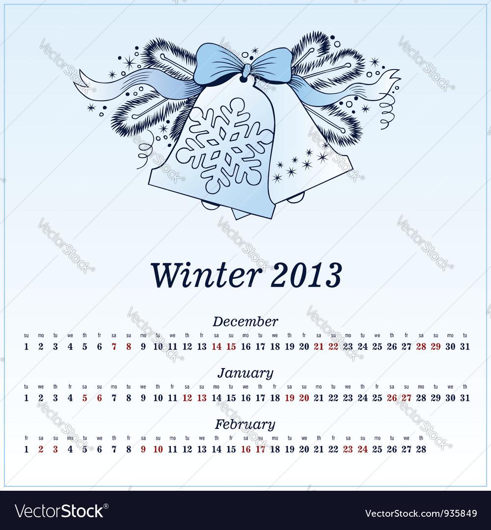 Calendar 2013 winter vector   Price: 1 Credit (USD $1)