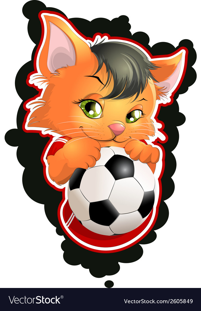 Cat and football vector | Price: 1 Credit (USD $1)