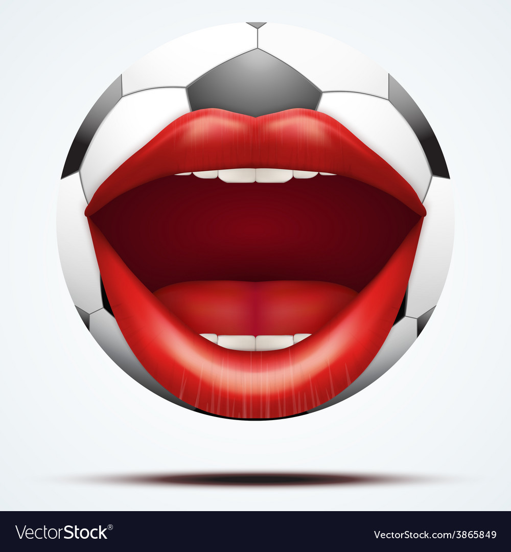 Football ball with a talking female mouth vector | Price: 3 Credit (USD $3)