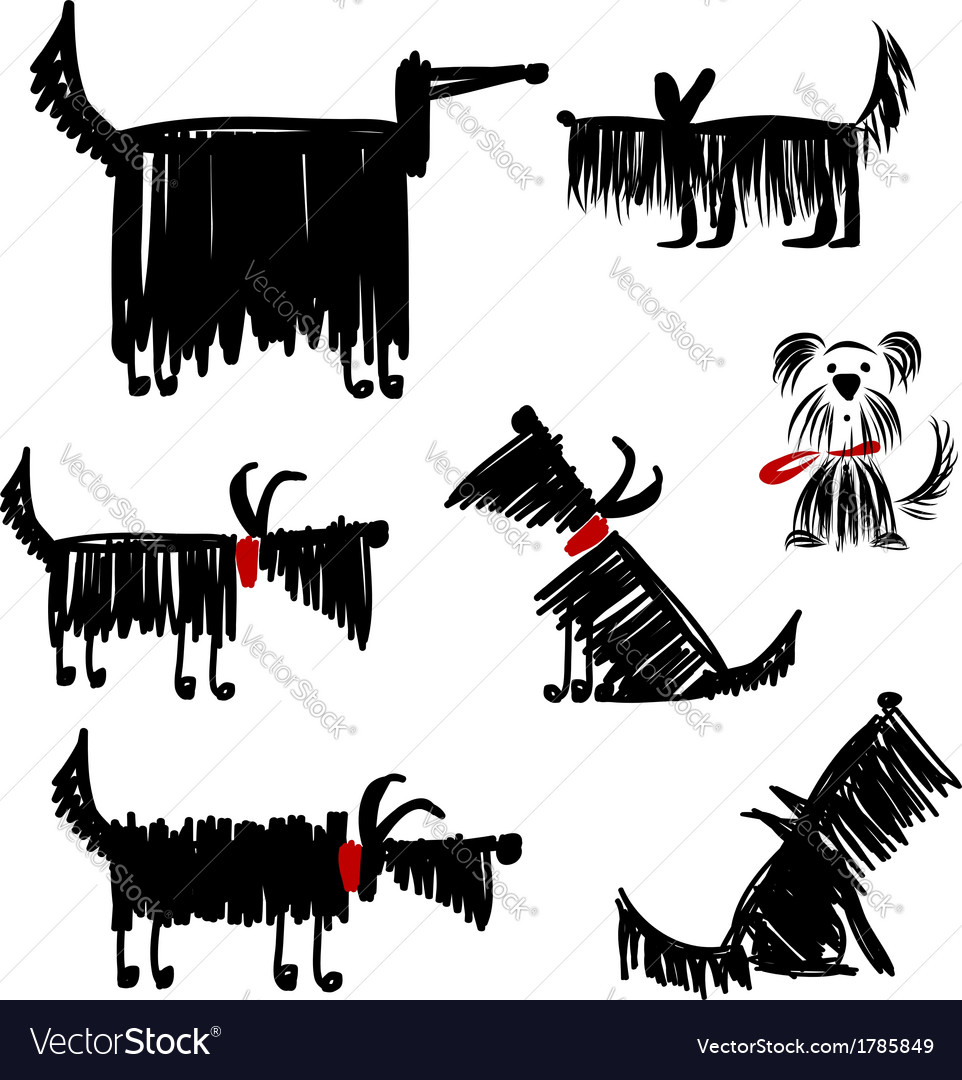 Funny black dogs collection for your design vector | Price: 1 Credit (USD $1)