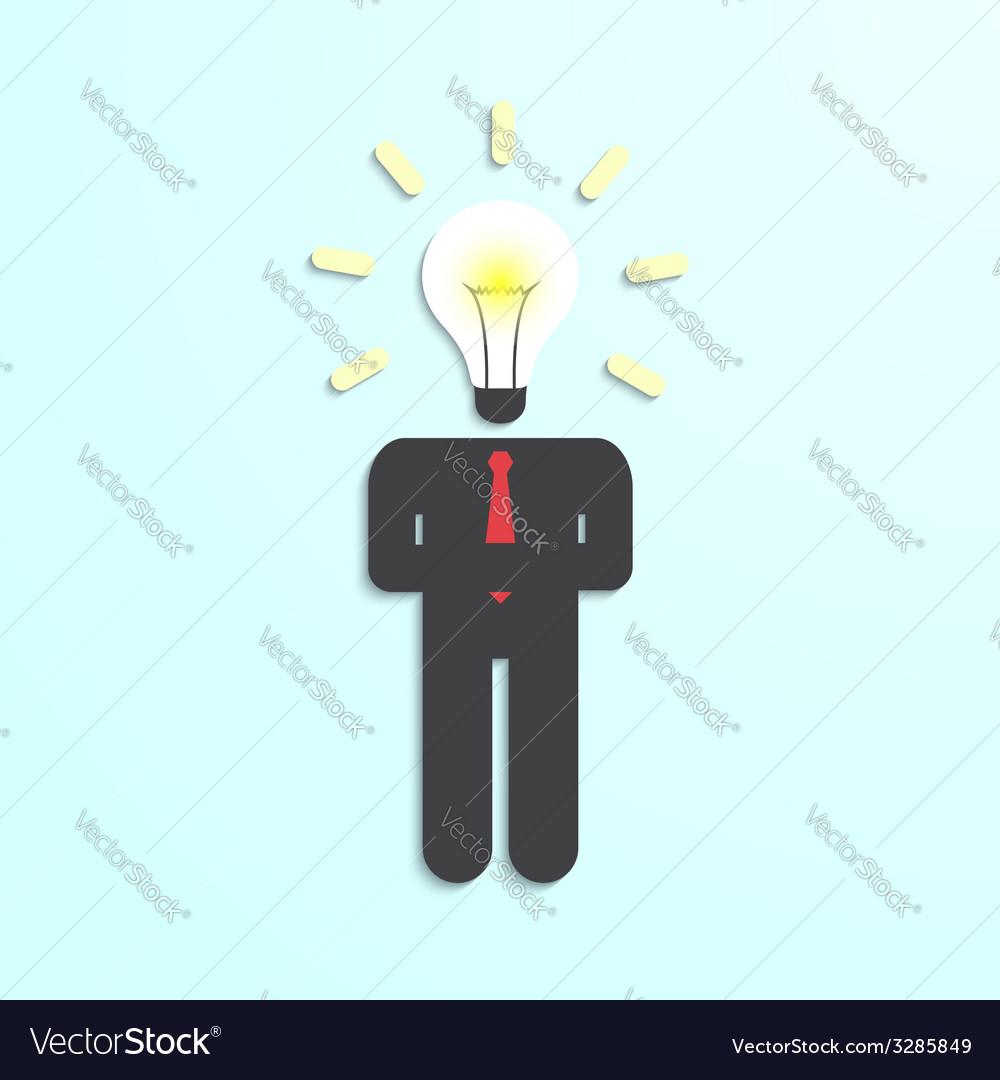 Light bulb head businessman vector | Price: 1 Credit (USD $1)
