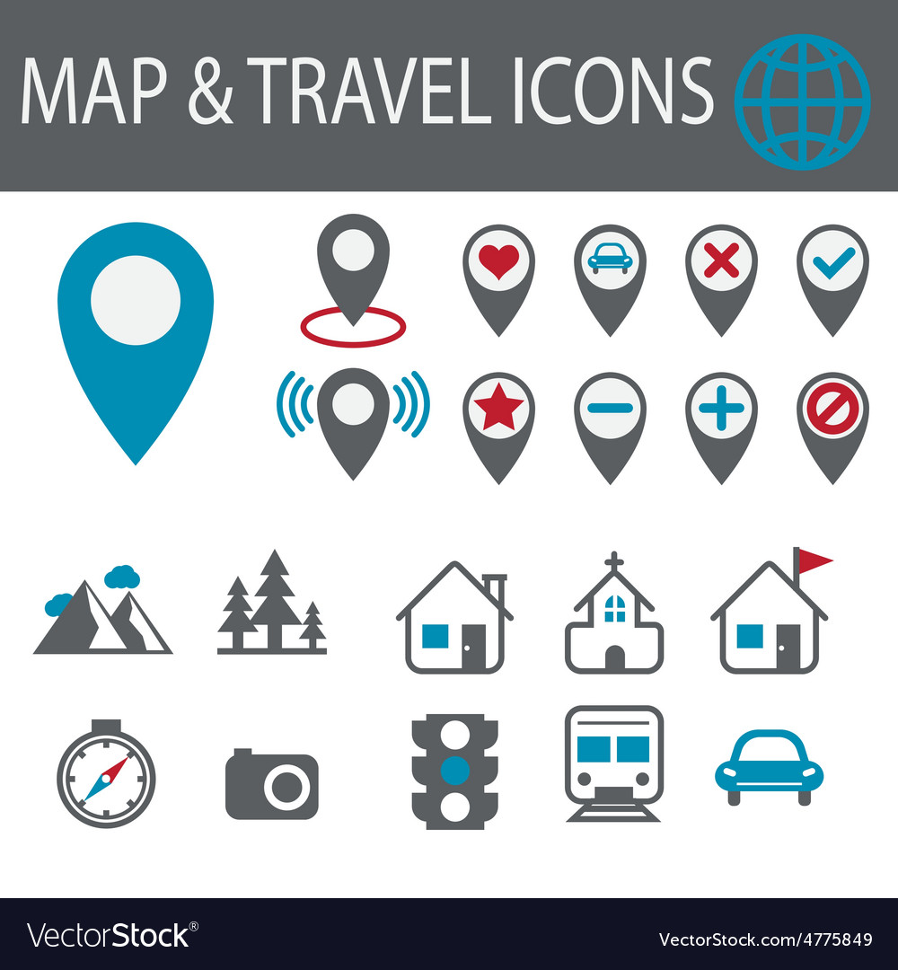 Location and destination icons vector | Price: 1 Credit (USD $1)