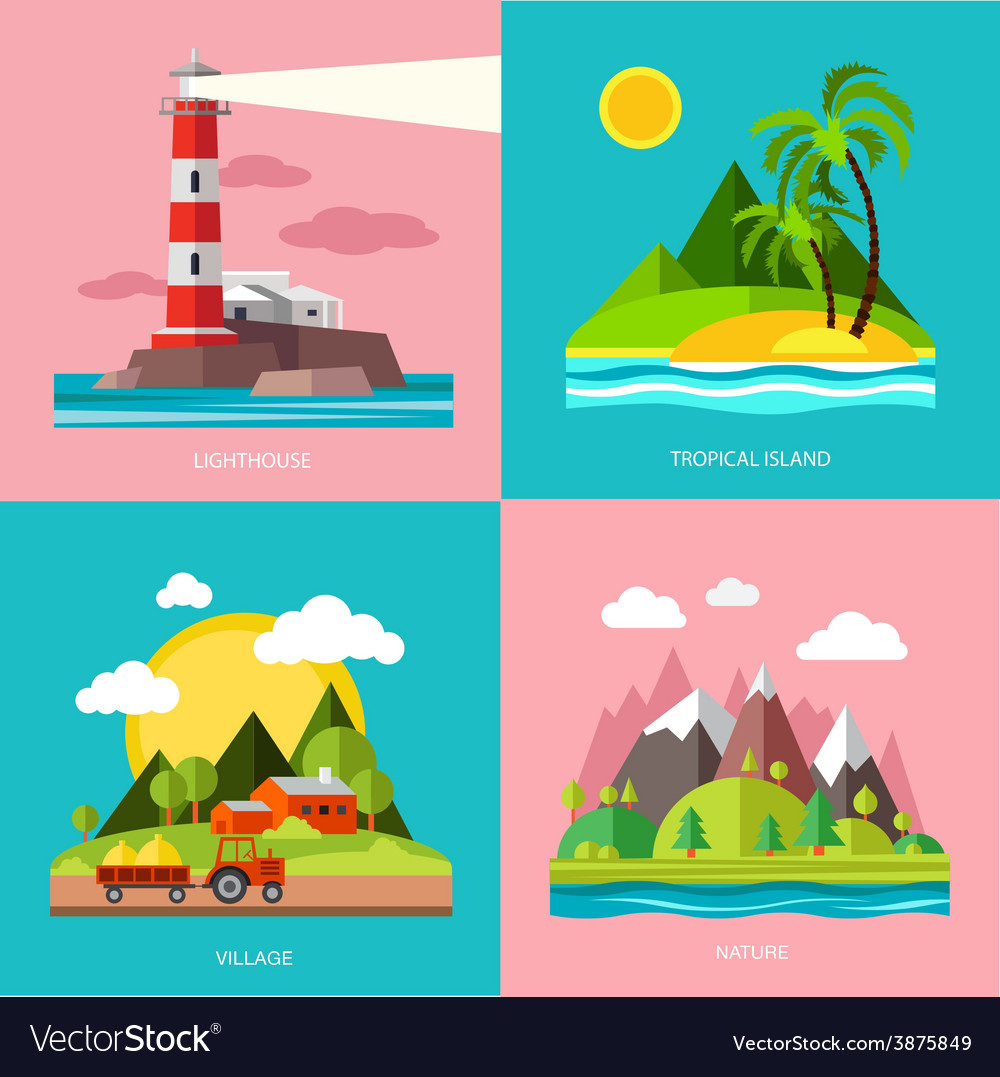 Nature various subjects lighthouse island farm vector | Price: 1 Credit (USD $1)