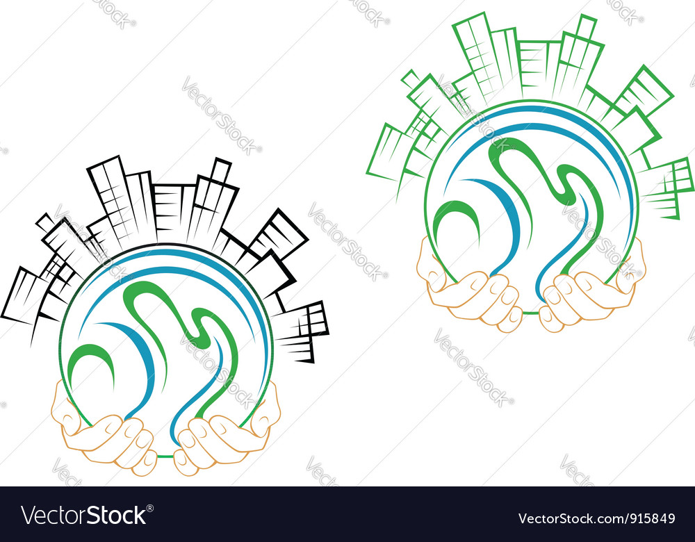 Our green earth planet in people hands vector | Price: 1 Credit (USD $1)
