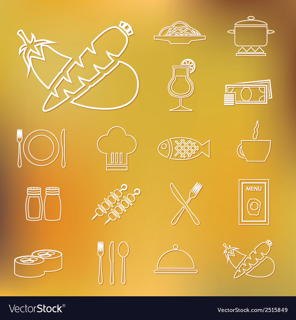Restaurant outline icons vector | Price: 1 Credit (USD $1)