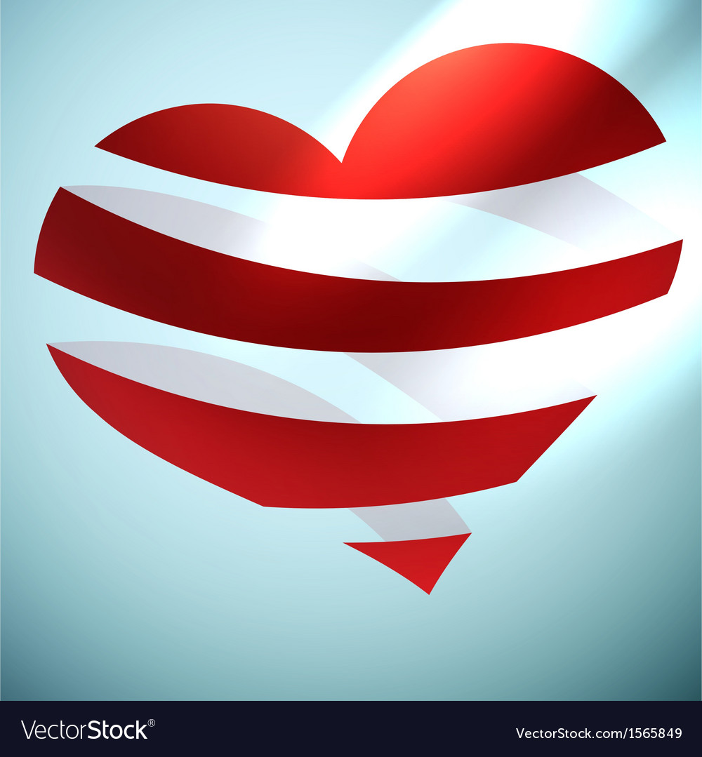 Ribbon red hearts with light  eps10 vector | Price: 1 Credit (USD $1)