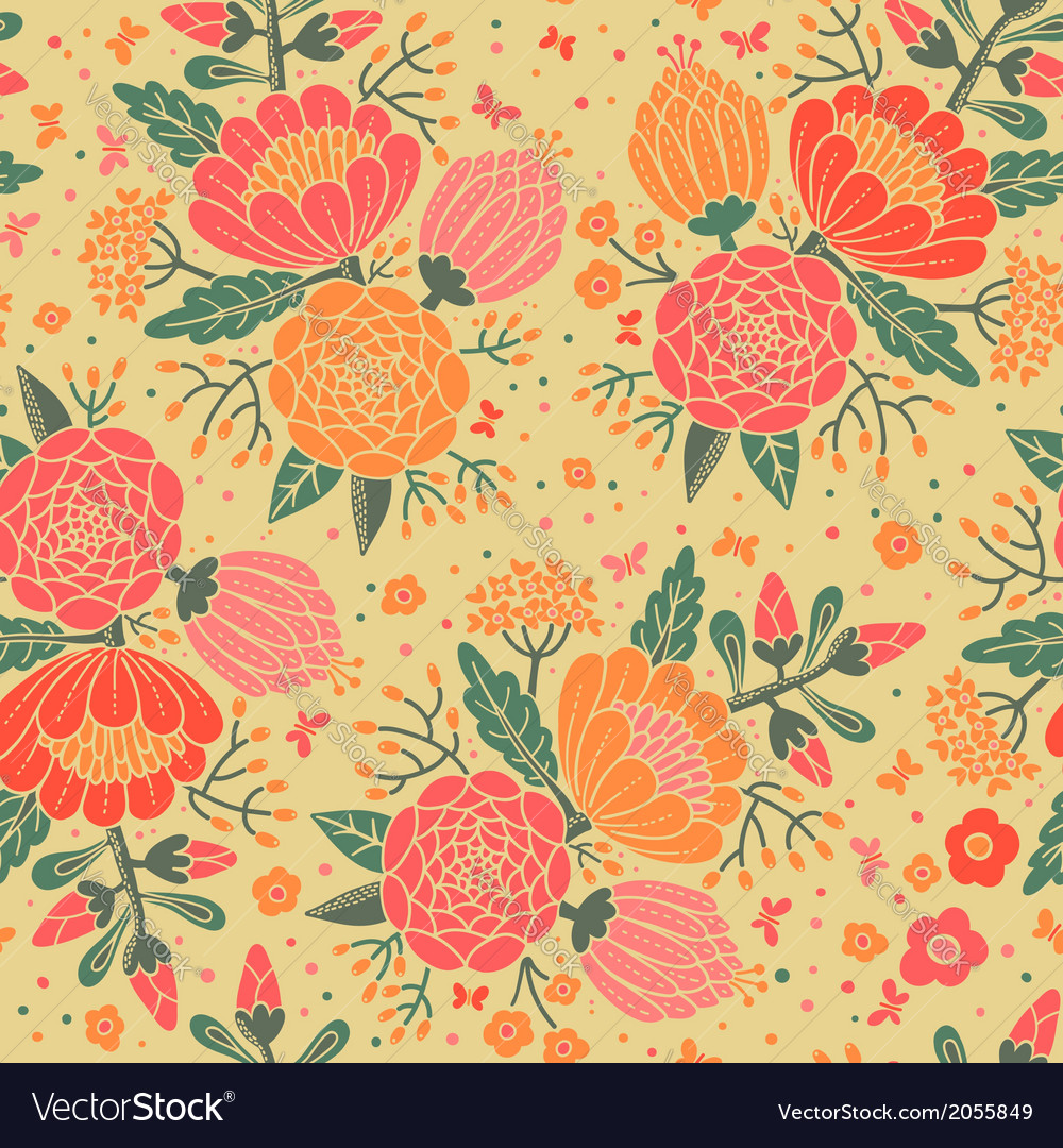 Seamless vintage pattern with decorative flowers vector | Price: 1 Credit (USD $1)