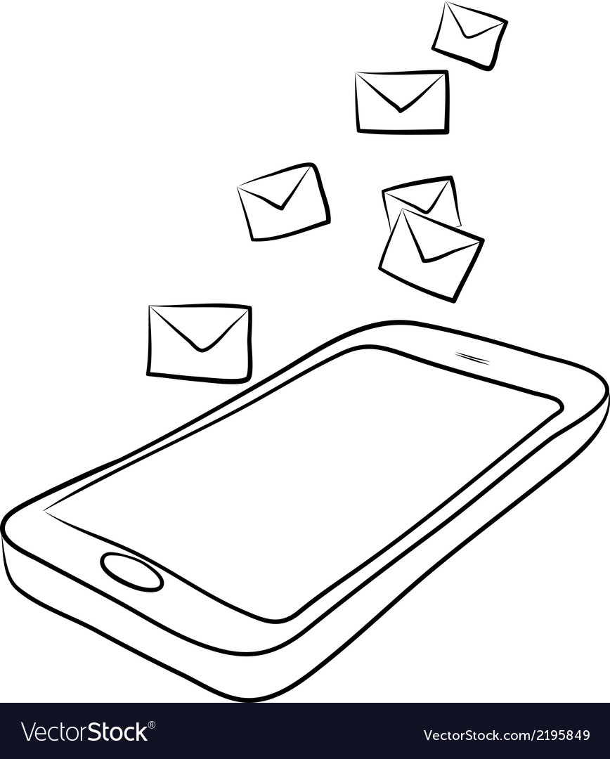 Smart phone with envelopes or e-mail vector | Price: 1 Credit (USD $1)