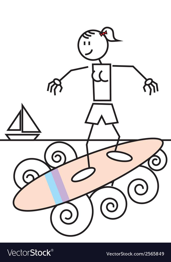 Stick figure surfing vector | Price: 1 Credit (USD $1)