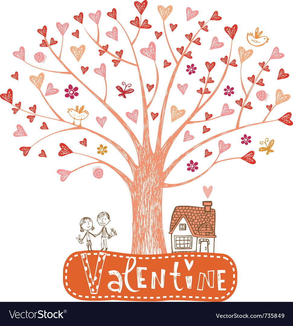 Valentine tree with hearts vector | Price: 1 Credit (USD $1)