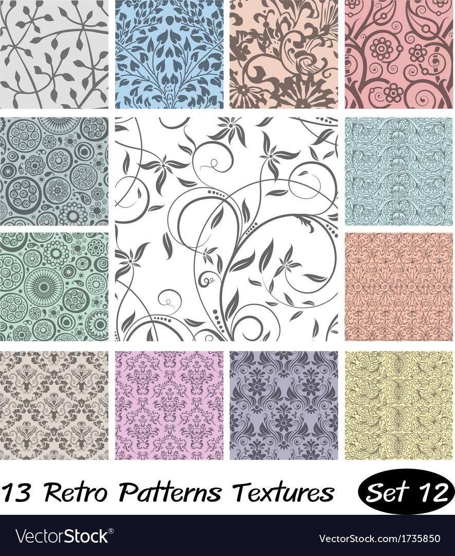13 retro patterns textures set 12 vector | Price: 1 Credit (USD $1)