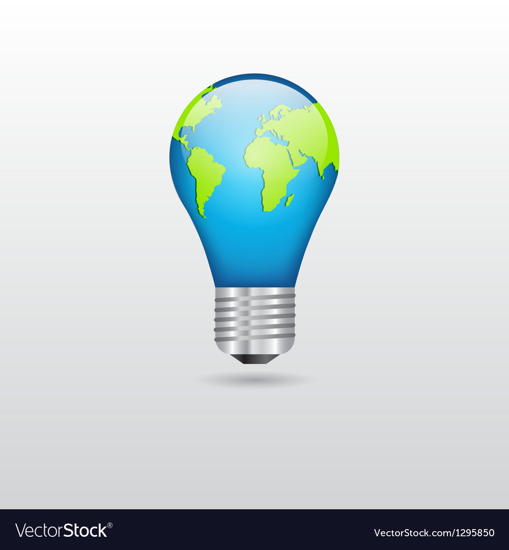 Bulb with planet vector | Price: 1 Credit (USD $1)