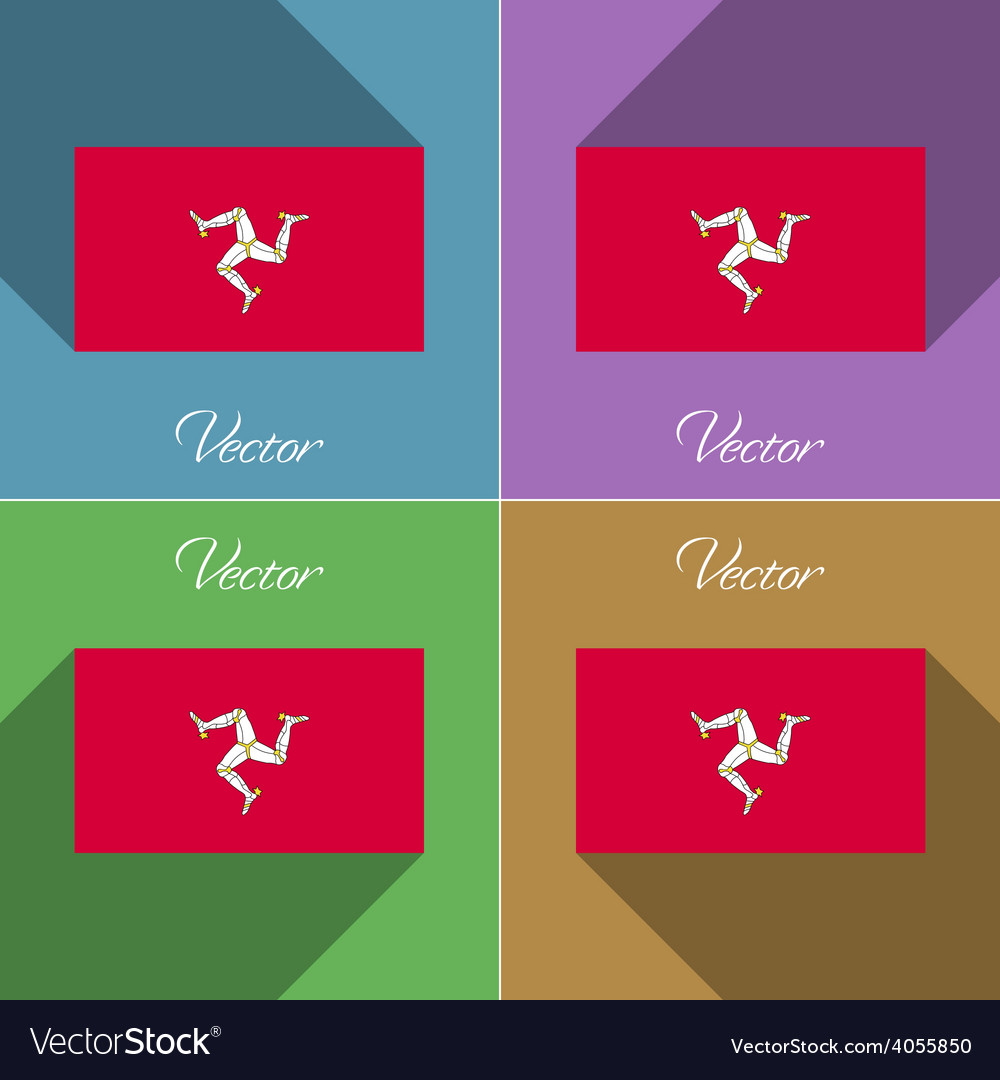 Flags isle of man set colors flat design and long vector | Price: 1 Credit (USD $1)