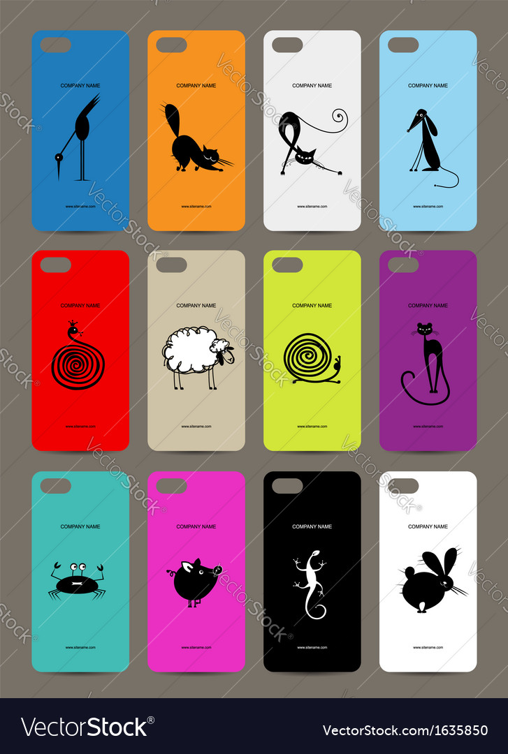 Mobile phone cover back  12 funny animals for your vector | Price: 1 Credit (USD $1)