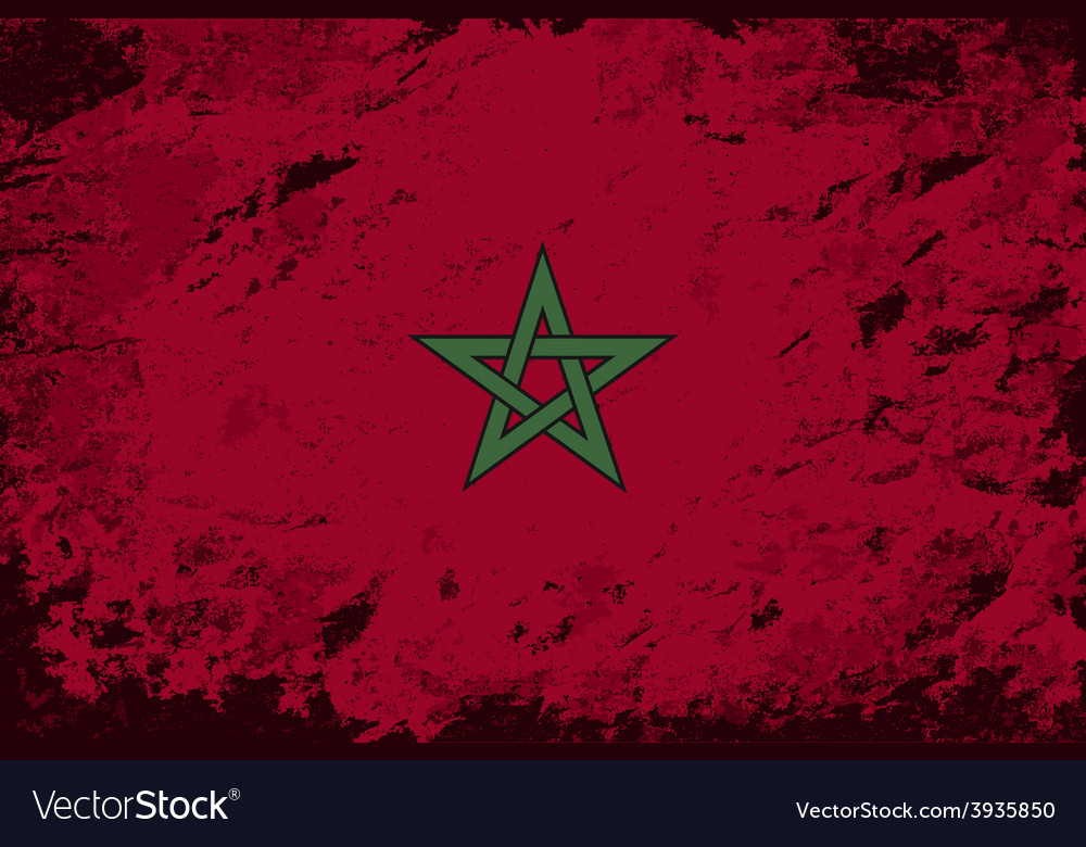 Moroccan flag grunge background vector | Price: 1 Credit (USD $1)