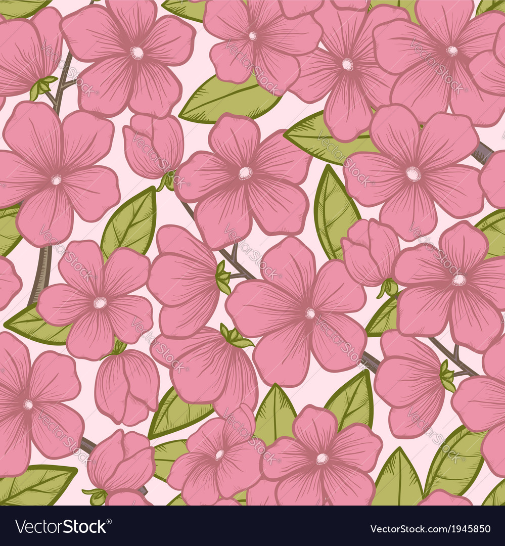 Seamless background with flowering tree branches vector | Price: 1 Credit (USD $1)