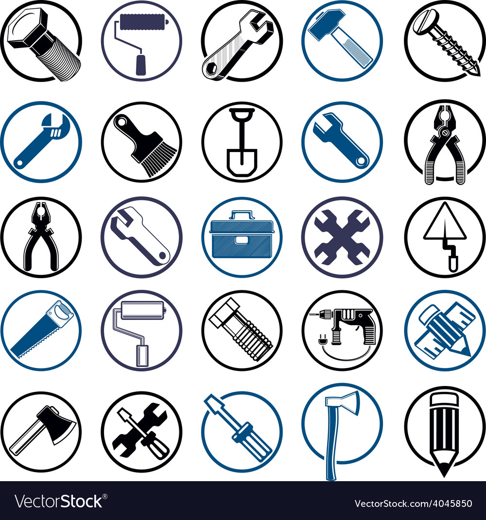 Stylized industrial icons 3d work tools collection vector | Price: 1 Credit (USD $1)