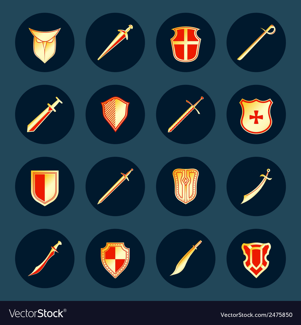 Sword and shield icons set vector | Price: 1 Credit (USD $1)