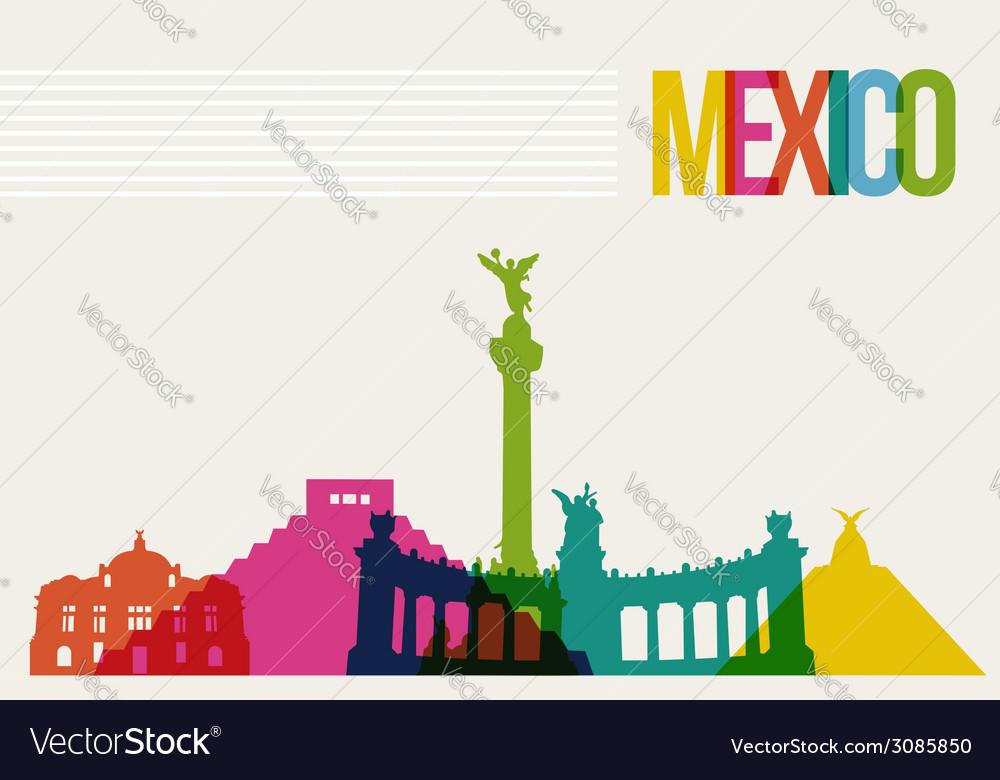 Travel mxico destination landmarks skyline vector | Price: 1 Credit (USD $1)