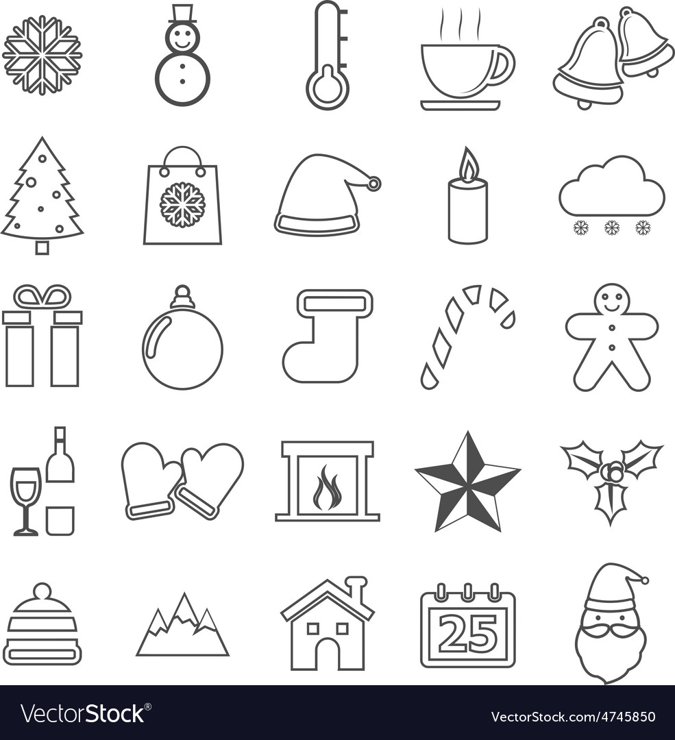 Winter line icons on white background vector   Price: 1 Credit (USD $1)
