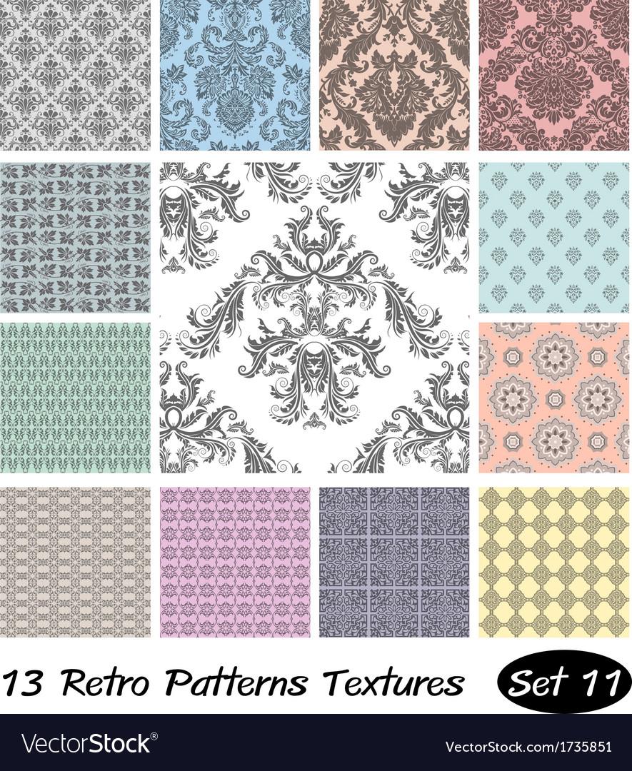 13 retro patterns textures set 11 vector | Price: 1 Credit (USD $1)