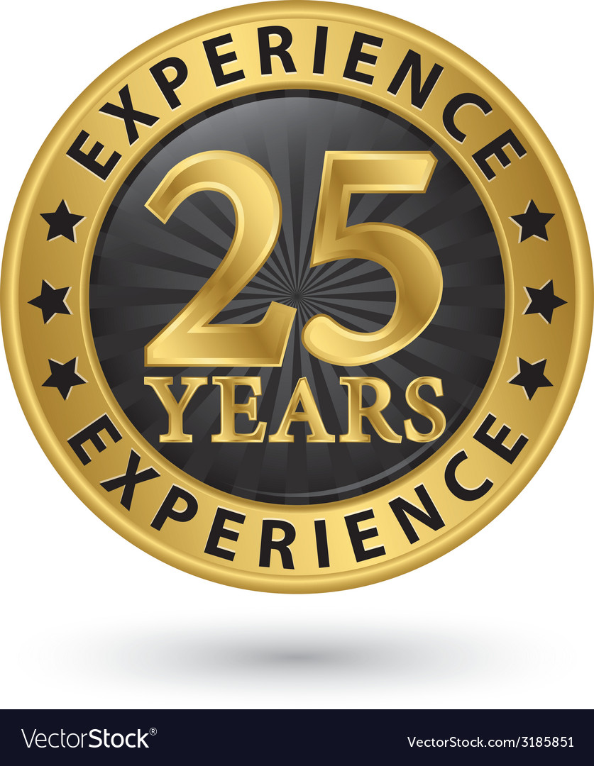 25 years experience gold label vector