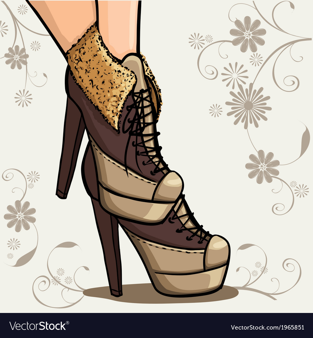 Beautiful legs of woman in ankle boot vector | Price: 1 Credit (USD $1)
