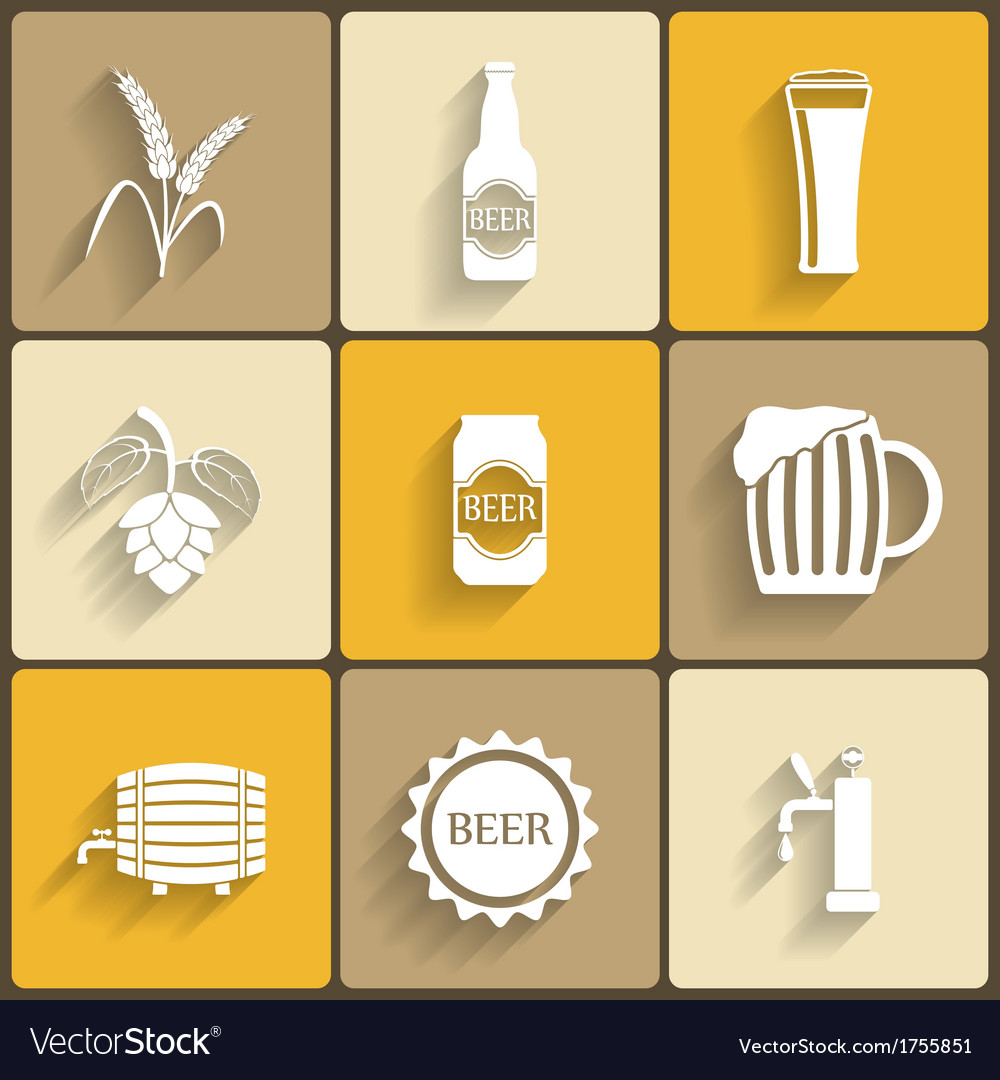 Beer flat icons vector   Price: 1 Credit (USD $1)