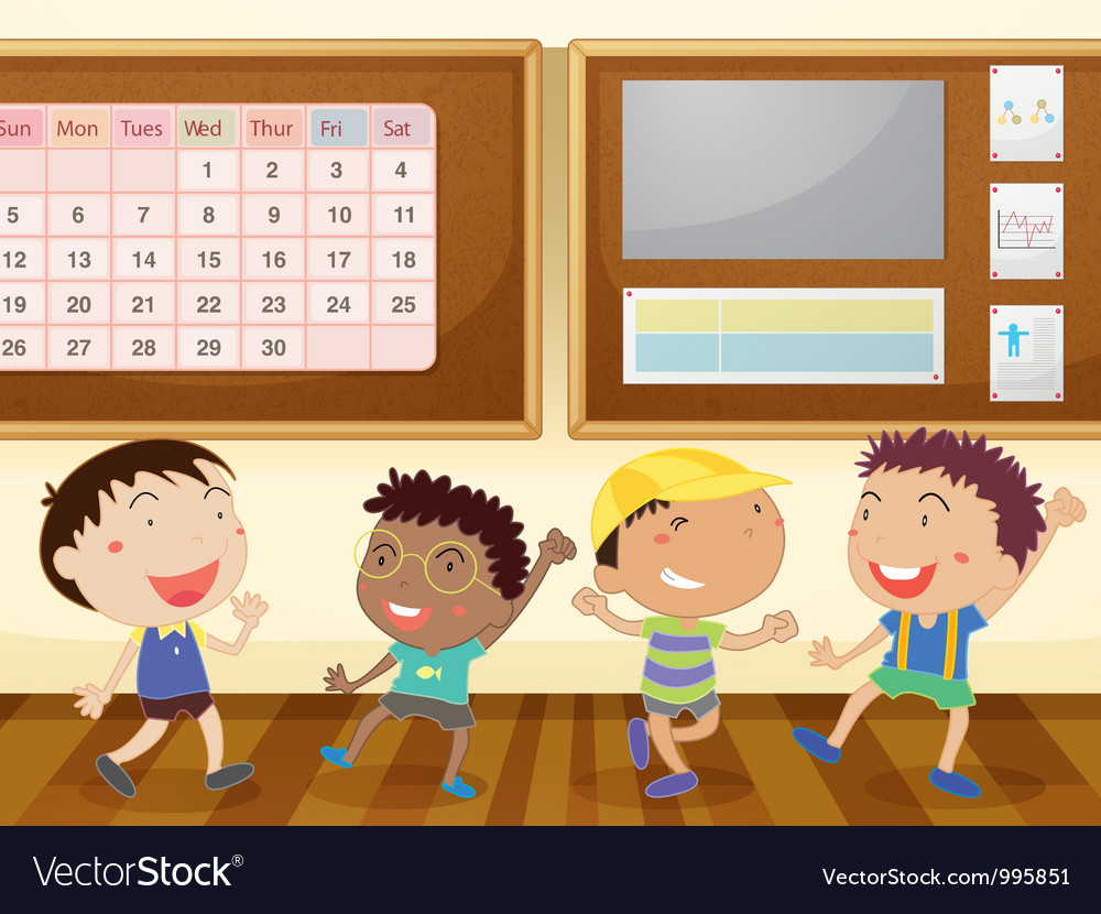 Boys in classroom vector | Price: 3 Credit (USD $3)