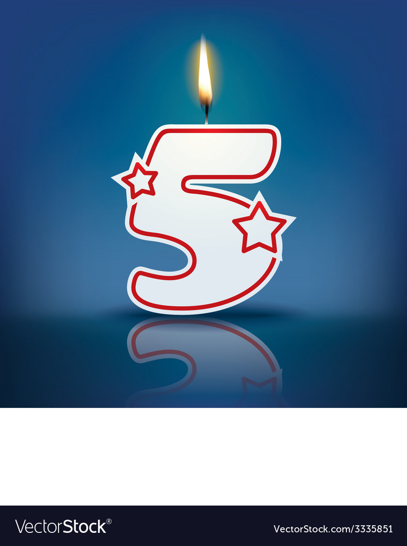 Candle number 5 with flame vector | Price: 1 Credit (USD $1)