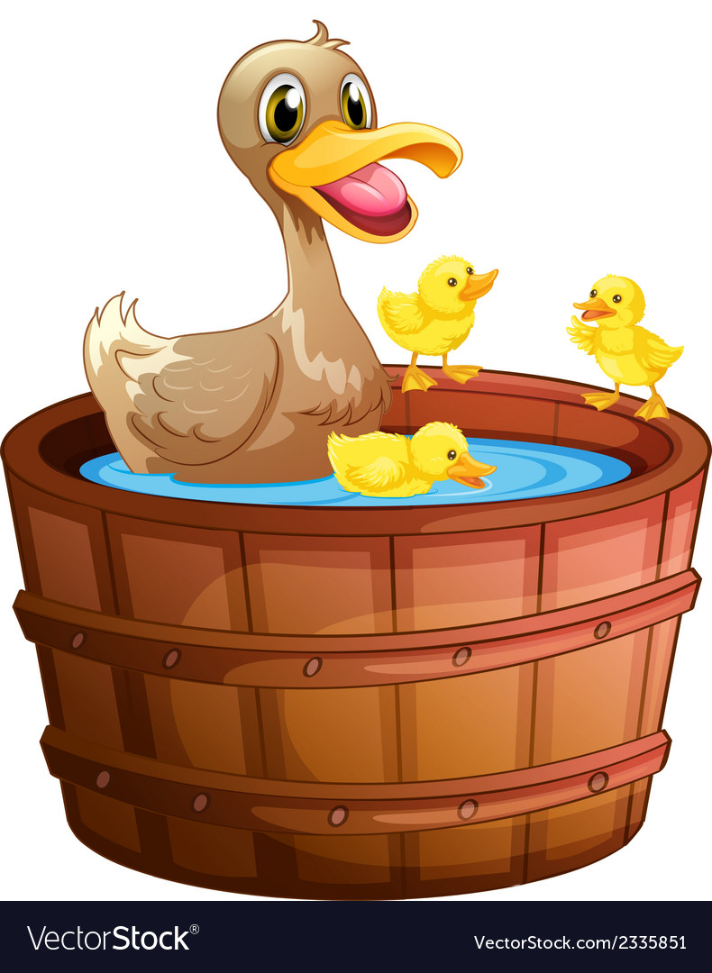 Ducks taking a bath at the bathtub vector | Price: 1 Credit (USD $1)