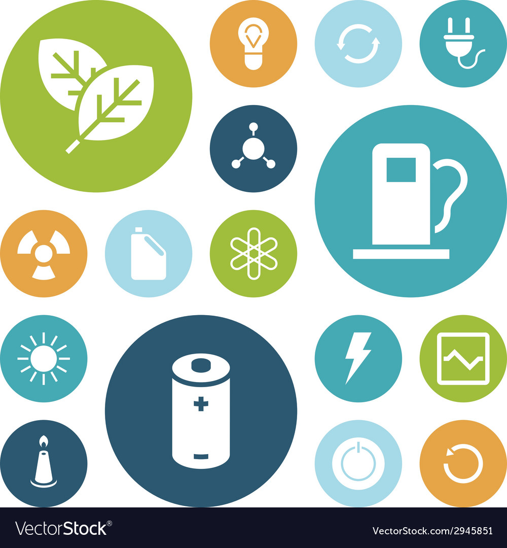 Flat design icons for energy and ecology vector | Price: 1 Credit (USD $1)