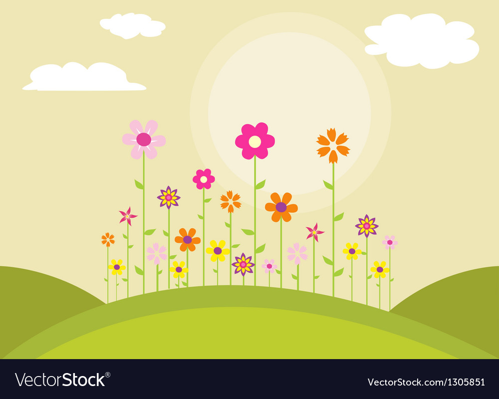 Flowers on a hill vector | Price: 1 Credit (USD $1)