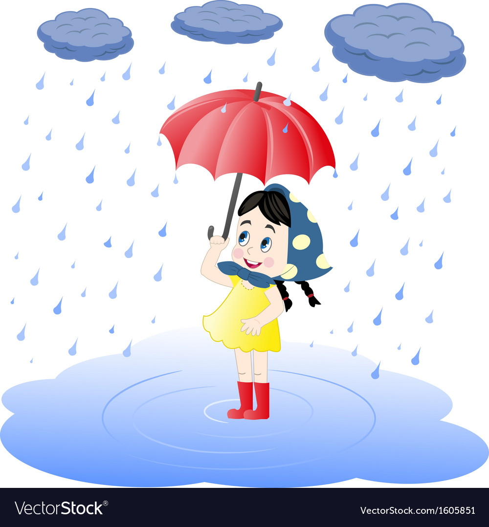 Girl under an umbrella and rain vector | Price: 1 Credit (USD $1)